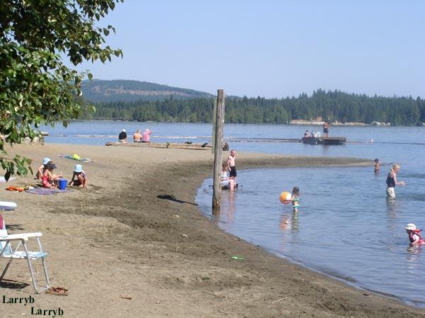 swimming at Comox Lake